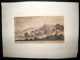 Adam Perelle after Israel Silvestre C1680 Etching. Village Near Nancy, France.